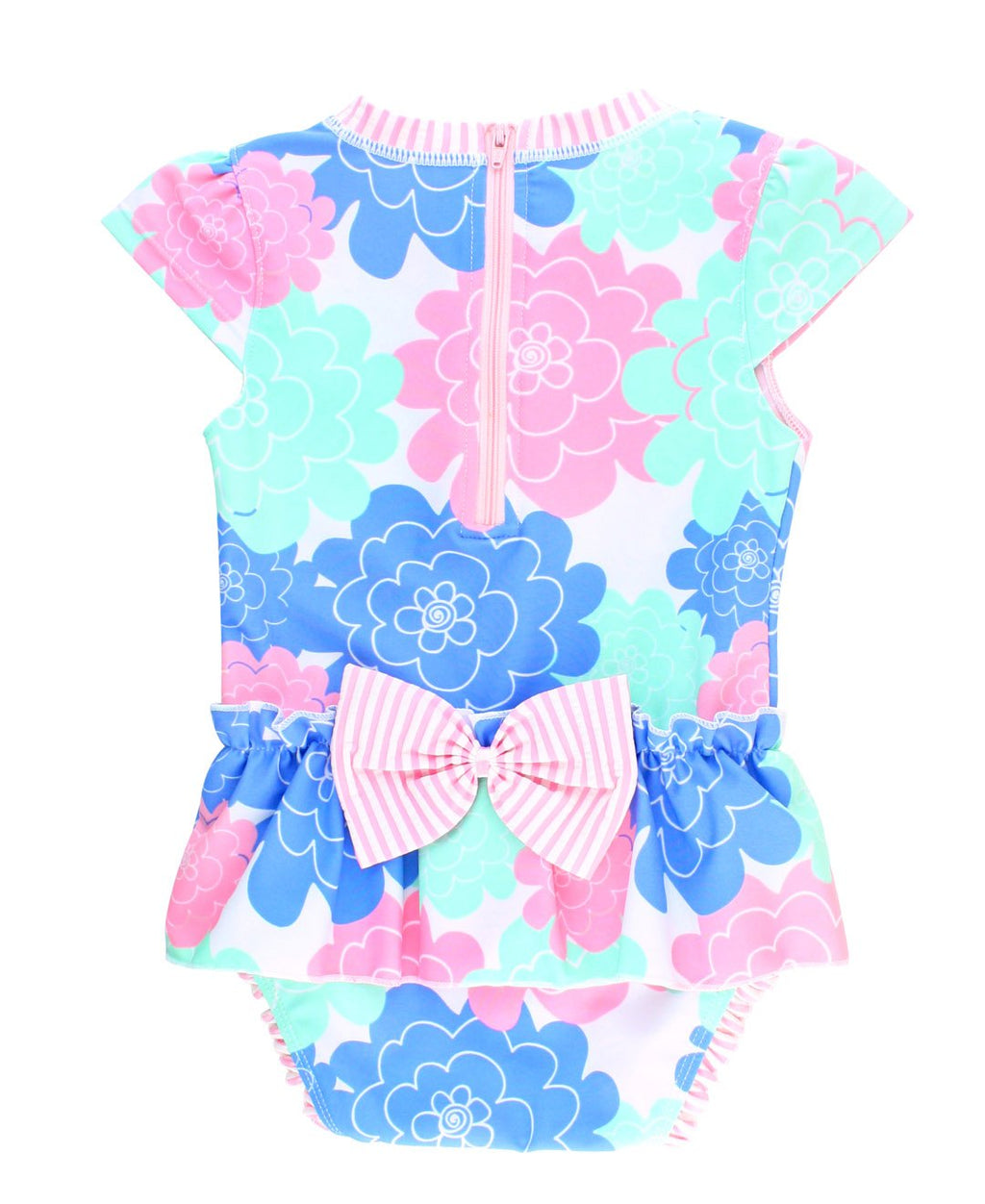 RuffleButts Infant/Toddler Girls Peplum Short Sleeve One Piece Swimsuit UPF 50+ Sun Protection