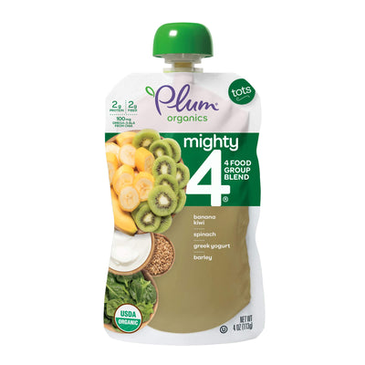 Plum Organics Mighty 4, Organic Toddler Food, Banana, Kiwi, Spinach, Kale, Greek Yogurt, Barley, and Oat, 4 Ounce(Pack of 12)  (Packaging May Vary)