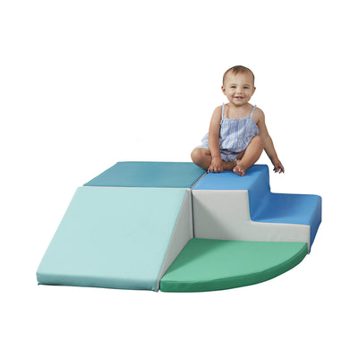 SoftScape Toddler Playtime Corner Climber, Indoor Active Play Structure for Toddlers and Kids, Safe Soft Foam for Crawling and Sliding (3-Piece Set) - Contemporary/Green