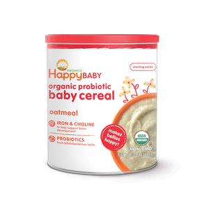 Happy Baby Organic Probiotic Baby Cereal with Choline Oatmeal, 7 Ounce Canister (Pack of 6) Organic Baby Cereal with Iron & Choline to Support Baby's Brain Development (Packaging may vary)