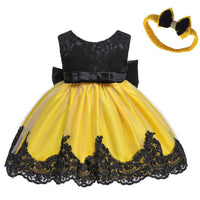 0-2 Years Baby Girls Pageant Lace Dresses Toddler Party Embroideryr Dress with Headwear
