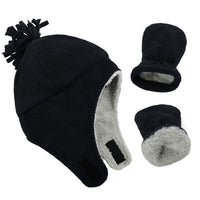 Zando Baby Boy Sherpa Lined Warm Fleece Pilot Hat Infant Toddler Winter Hat Mitten Set