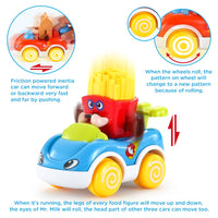 LUKAT 1 Year Old Boy Gifts, Toddler Toy Cars Set of 4 Friction Powered Cars, Pull Back Cars Cartoon Push and Go Friction Powered Car Toys, Baby Toy Vehicles Set Toy Best Toys for Boys and Girls