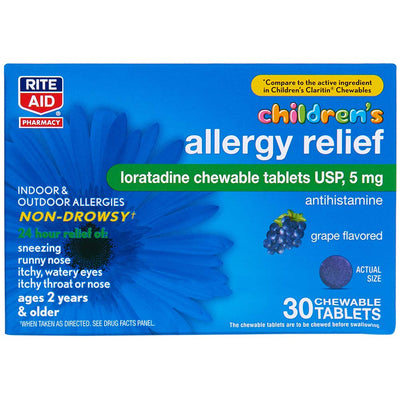 Rite Aid Children's Non-Drowsy Allergy Relief Chewable Tablets, Grape Flavor, Loratadine, 5 mg - 30 Count | Children's Allergy Medicine