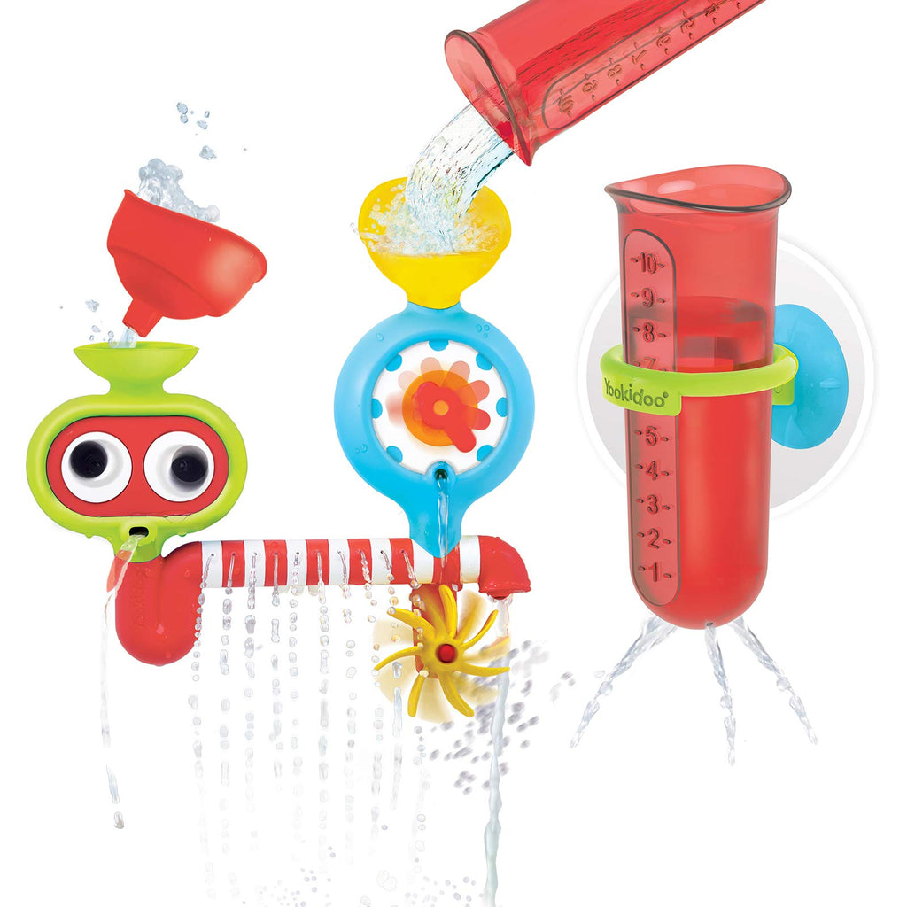 Yookidoo Baby Bath Toy - Spin 'N' Sprinkle Water Lab - Spinning Gear and Googly Eyes for Bath Time Sensory Development - Attaches to Any Size Tub Wall - 1+ Years