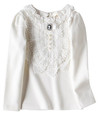 VYU Toddler Little Girls Long Sleeve Blouse 2-8 Years Kids Cotton Warm Shirts