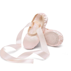 STELLE Girls Ballet Dance Shoes Satin Slippers Gymnastics Flats Split Sole with Ribbon