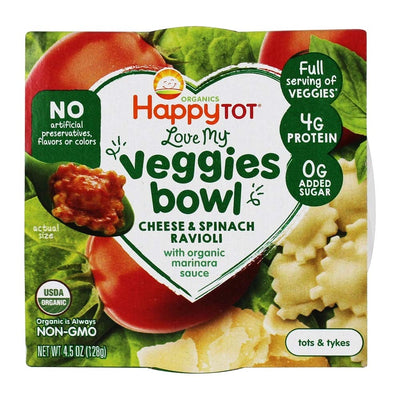 HAPPY TOT Organic Ravioli Love My Veggies Bowl, 4.5 OZ
