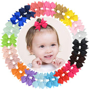 "40pcs Baby Girls Clips 2"" Grosgrain Boutique Solid Color Ribbon Mini Hair Bows Clips for Baby Girls Teens Infants Kids Toddlers Children Set of 20 pairs"