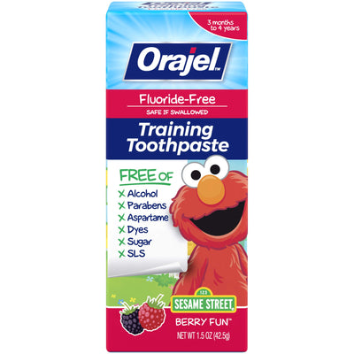 Orajel Elmo Fluoride-Free Training Toothpaste, Berry Fun, 1.5oz
