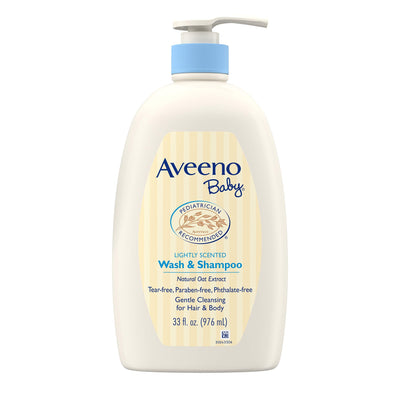 Aveeno Baby Gentle Wash & Shampoo with Natural Oat Extract, Tear-Free &, Lightly Scented, 33 fl. oz