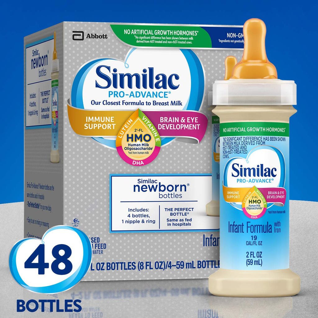 Similac Pro-Advance Infant Formula with 2'-fl Human Milk oligosaccharide (hmo) for Immune Support, Ready to Drink Bottles, 2 Fl Oz (48Count)