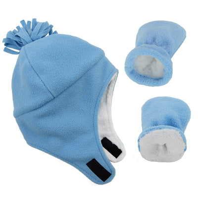 Century Star Baby Fleece Hat Warm Earflap Kids Caps Toddler Boys Winter Hat and Mitten Set