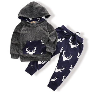 Toddler Infant Baby Boys Deer Long Sleeve Hoodie Tops Sweatsuit Pants Outfit Set