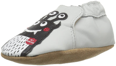Robeez Boys' Soft Soles, Monster Mash Pale Grey, 0-6 Months M US Infant