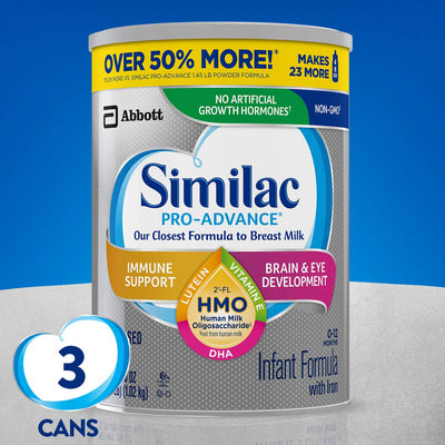 Similac Pro-Advance Non-GMO Infant Formula with Iron, with 2'-FL HMO, for Immune Support, Baby Formula, Powder, 36 Oz, Pack of 3 (One-Month Supply)
