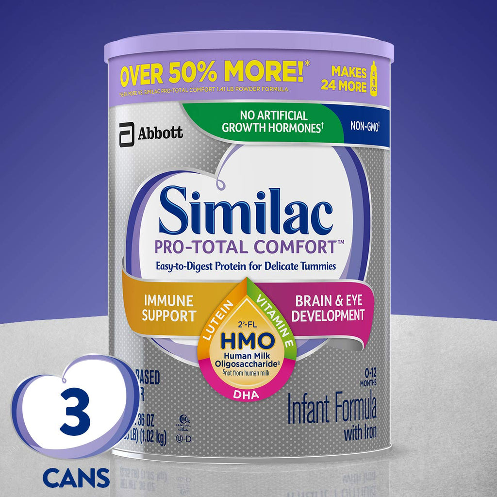 Similac Pro-Total Comfort Infant Formula OPTI-GRO, Non-GMO, Easy-to-Digest, Gentle Formula, with 2'-FL HMO, for Immune Support, Baby Formula, Powder, 36 Ounce, Pack of 3