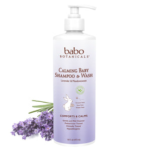 Babo Botanicals Calming 2-in-1 Shampoo & Wash with French Lavender and Organic Meadowsweet, Hypoallergenic, Vegan, for Babies and Kids - 16 oz.