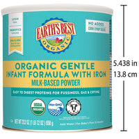 Earth's Best Organic Gentle Infant Powder Formula with Iron, Easy To Digest Proteins, 23.2 oz.