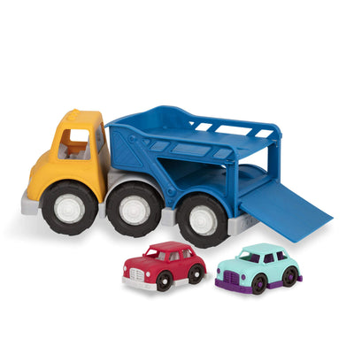 Wonder Wheels by Battat - Car Carrier Truck - Toy Truck with 2 Toy Cars for Toddlers Aged 1 & Up (3Pc)