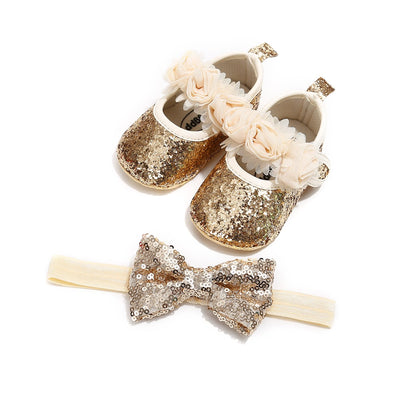 2pcs/Set Newborn Baby Girl Princess Mary Jane Shoes Toddler Infant Wedding Dress Flat Shoes with Free Headband