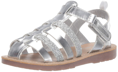 carter's Girls' Evonne Fisherman Dress Sandal, Silver, 5 M US Toddler