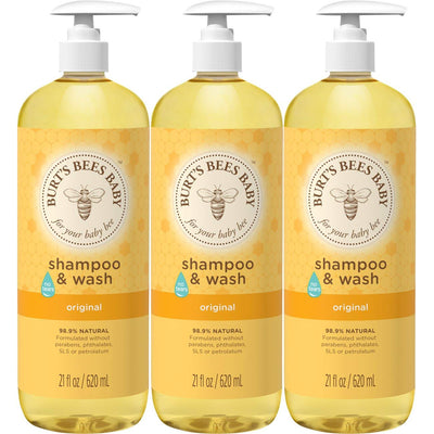 Burt's Bees Baby Shampoo & Wash, Original Tear Free Baby Soap - 21 Ounce Bottle - Pack of 3