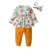 3PCS Baby Girl Clothes Ruffle Floral Shirt Tops Pants Headband Outfit Sets