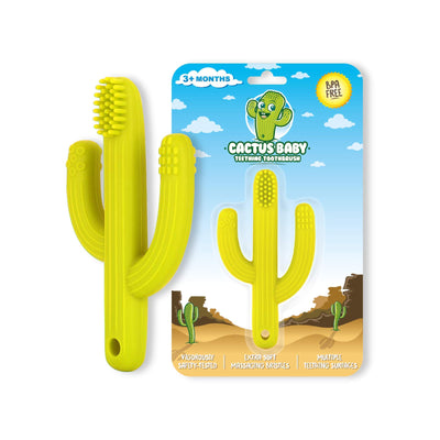 Cactus Baby Teething Toys Toothbrush | Self-Soothing Pain Relief Soft Silicone Teether Training Toothbrush for Babies, Toddlers, Infants, Boy and Girl | Natural Organic BPA Free | 3+ Months | Yellow