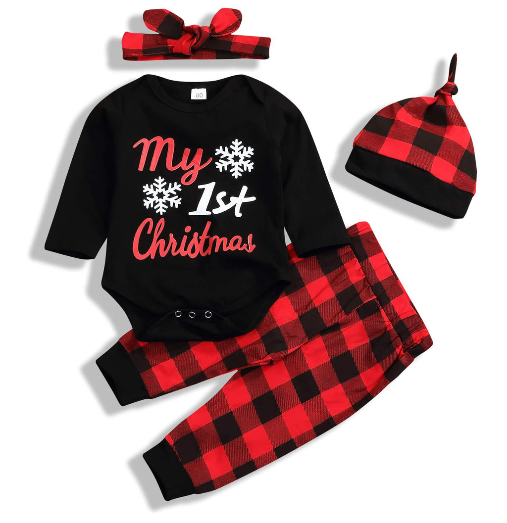 Younger star 4Pcs Christmas Baby Long Sleeve Snow Romper Bodysuit+Arrow Pant+Hat+Headband Clothes (Black, 0-6 Months)