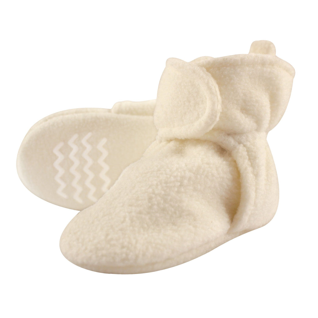 Hudson Baby Baby Cozy Fleece Booties with Non Skid Bottom, Cream, 6-12 Months