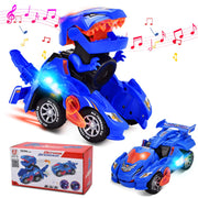 Villana Transforming Dinosaur Toys, Transforming Dinosaur Car with LED Light and Music Automatic Transform Dino Car for 2+ Year Old Kids Christmas Birthday Gifts (Blue)