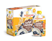 Happy Tot Organic Stage 4 Super Morning Organic Bananas Blueberries Yogurt & Oats + Super Chia, 4 Ounce Pouch (Pack of 8) (Packaging May Vary)