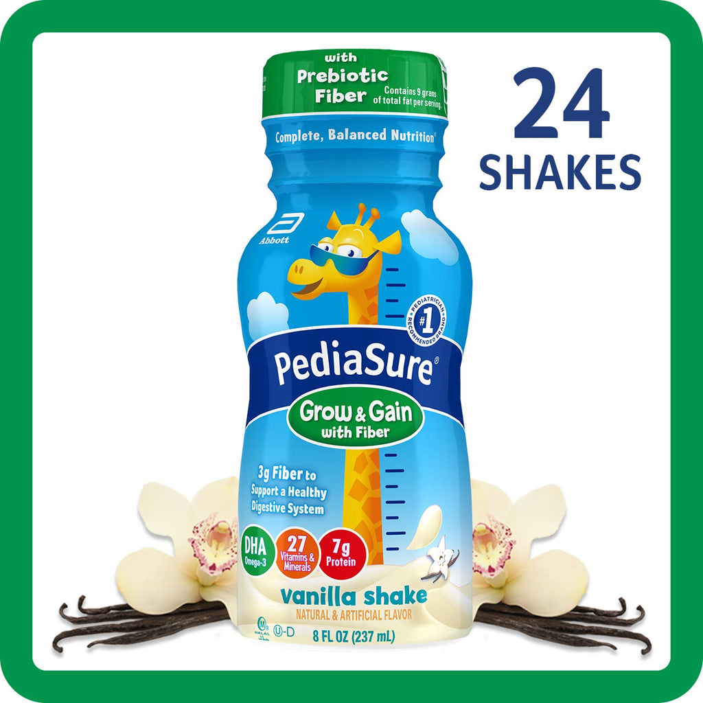 Pediasure Grow & Gain with Fiber Kids' Nutritional Shake Vanilla Ready-to-Drink 4-6-8 Fl Oz Bottles