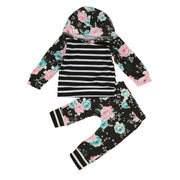 1-5Y Infant Baby Toddler Girl Floral Stripe Hooded Shirt Top & Pants Outfits Set