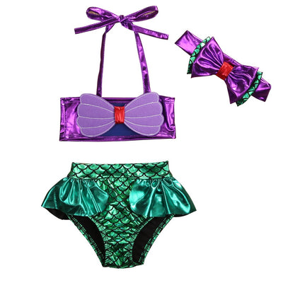 3Pcs/Set Kids Toddler Baby Girl Mermaid Swimsuits Halter Swimwear Bikini Set with Headband