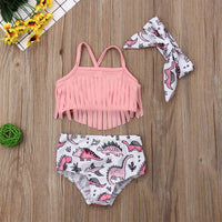 Toddler Kids Baby Girl Swimwear Cute Dinosaur Print Tassel Top Bikini Set Summer Swimsuit Beachwear with Headband