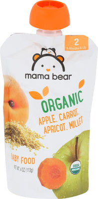 By Amazon - Mama Bear Organic Baby Food Pouch, Stage 2, Apple Carrot Apricot Millet, 4 Ounce Pouch