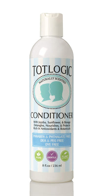 TotLogic Natural Kids and Baby Safe Conditioner - 8 oz Original Scent - Sulfate and Paraben Free Non-Toxic Formula Nourishes and Detangles
