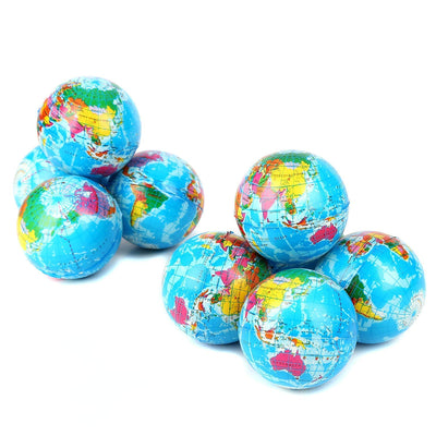 12 Pack - Mini Foam World Globe Squeeze Stress Balls for Adults & Kids
