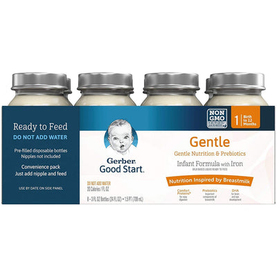 Gerber Good Start GentlePro Prebiotic Baby Formula Nursers, 3 oz, 8 CT
