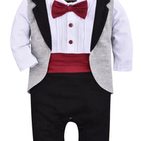 ZOEREA 1pc Baby Boys Tuxedo Gentleman Onesie Romper Jumpsuit Wedding Suit 3-18 M