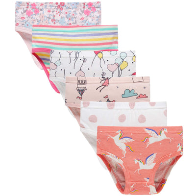 Sladatona Little Girls' Soft Cotton Underwear Bring Cool, Breathable Comfort Experience Panty(3/4t variety, Pack of 6)
