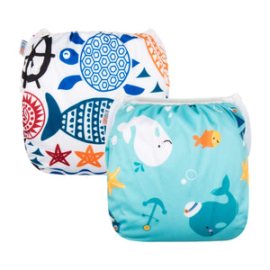 ALVABABY Swim Diapers Reuseable One Size for Boys and Girls 2pcs DYK05-06