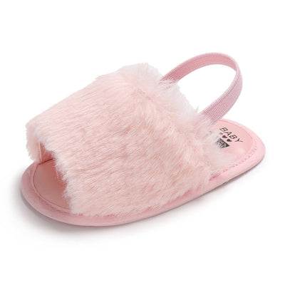 BENHERO Baby Girls Sandals Faux Fur Slides with Elastic Back Strap Flats Toddler Infant Prewalker Summer Shoes Slippers