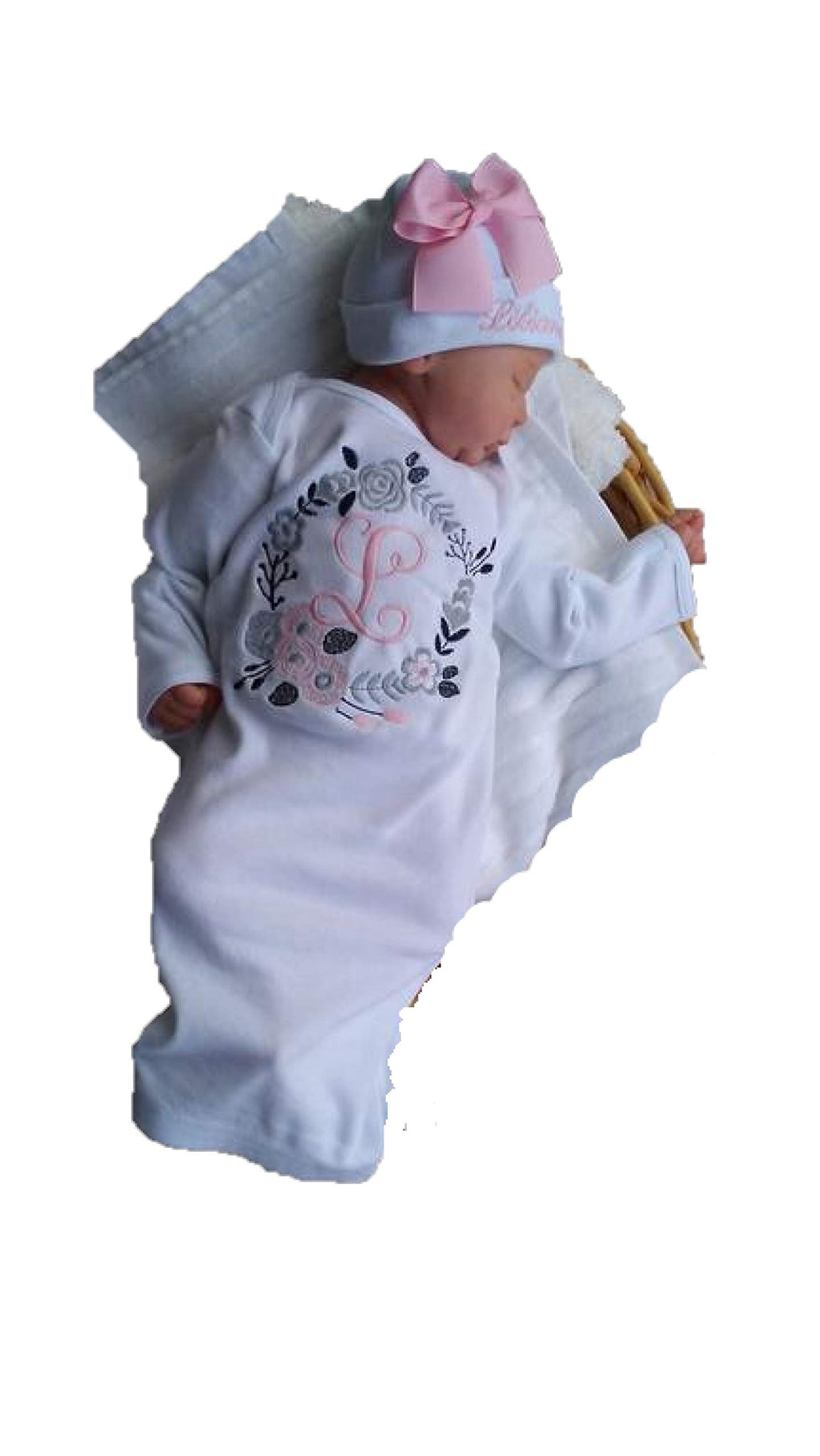Theposhlayette Newborn Baby Girl Coming Home Outfit Personalized Layette Gown with Beanie Baby Girl Shower Gifts White Pink