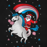 Santa Riding Unicorn Rainbow Ugly Christmas Toddler Kids Sweatshirt