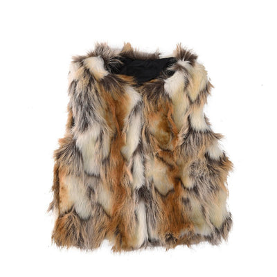 Per Baby Girl Faux Fur Vest Warm Sleeveless Jacket-yellow,S(1year)