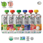 Once Upon a Farm Organic Stage 2 & 3 | Baby Food Pouch | Cold Pressed | Refrigerated | For 9+ Months | Best Seller Variety Pack of 24