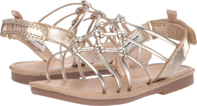 carter's Girl's Edina Metallic Strappy Sandal, Gold, 7 M US Toddler